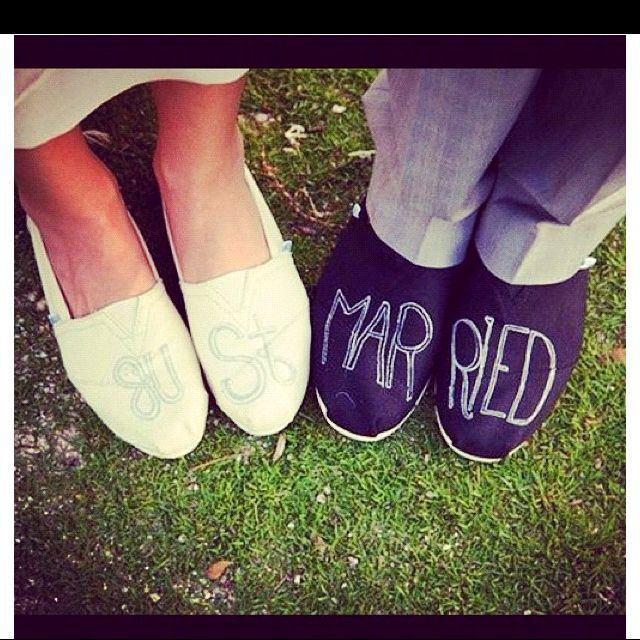 """Just Married TOMS"" shoes TOMSshoes One for One OneforOne fashion style DIY"