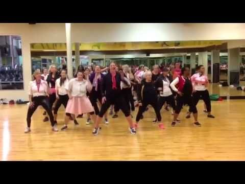 "Zumba ""Grease Lightening"" with instructor Amber Blanch. These ladies are amazing! I seriously laughed out loud when i saw this... this looks so fun!"