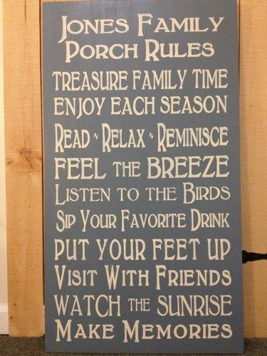 porch rules sign | LARGE Porch Rules Custom Word Art Wood Sign | SignsofElegance ...