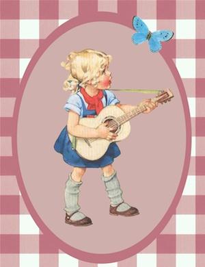 Ansichtkaart meisje met gitaar