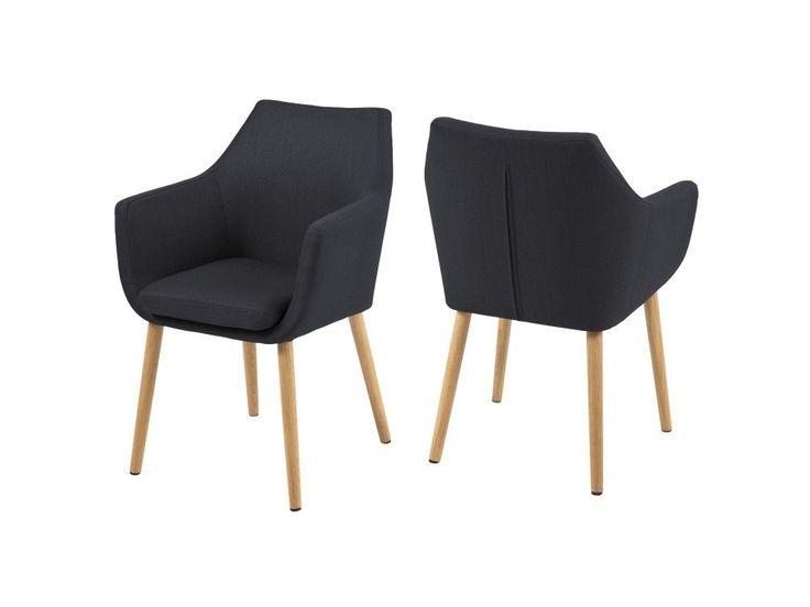 Krzesło Nora grafitowe tkanina nogi dreniane — Krzesła Actona — sfmeble.pl