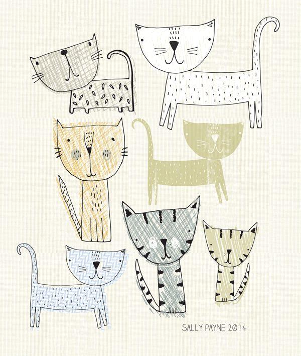 gatos. ilustración de Sally Payne