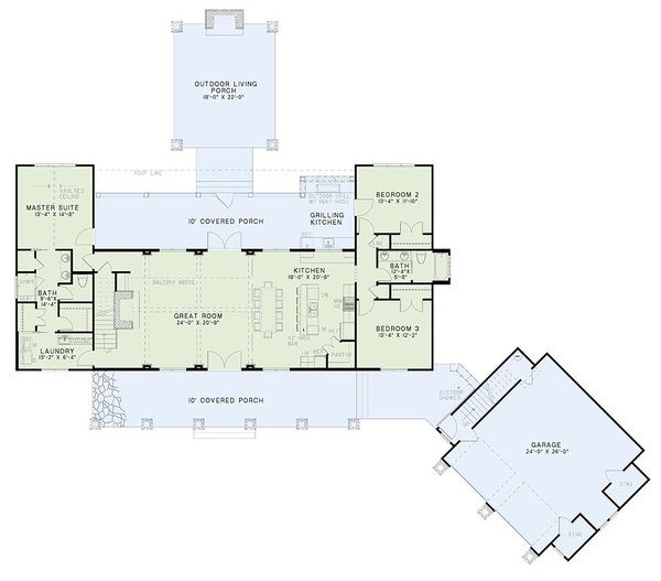 Craftsman Style House Plan - 5 Beds 4 Baths 2555 Sq/Ft Plan #17-2480 Floor Plan - Main Floor Plan - Houseplans.com