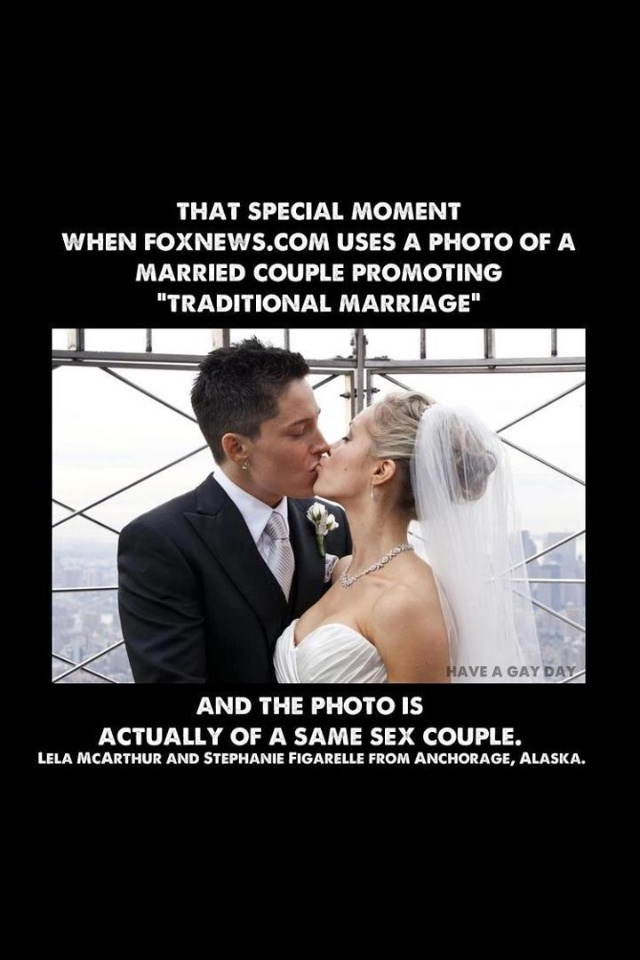 Fox News accidentally used a picture of a lesbian couple kissing at their  wedding to accompany an article about gender roles in 'traditional'  marriage.