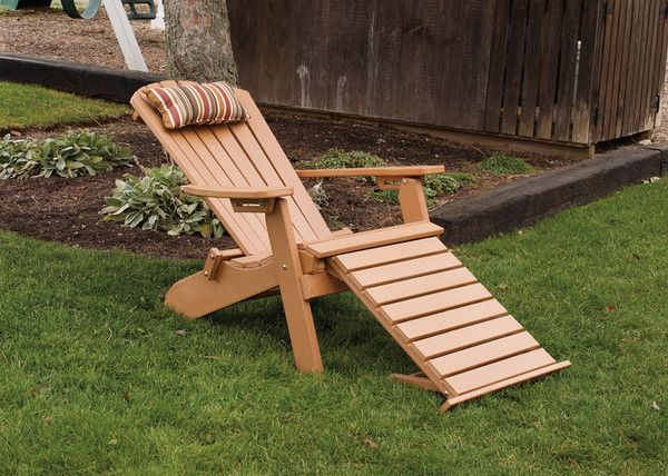 A&L Furniture Co. Folding Reclining Recycled Plastic Adirondack Chair W/ Pullout Ottoman
