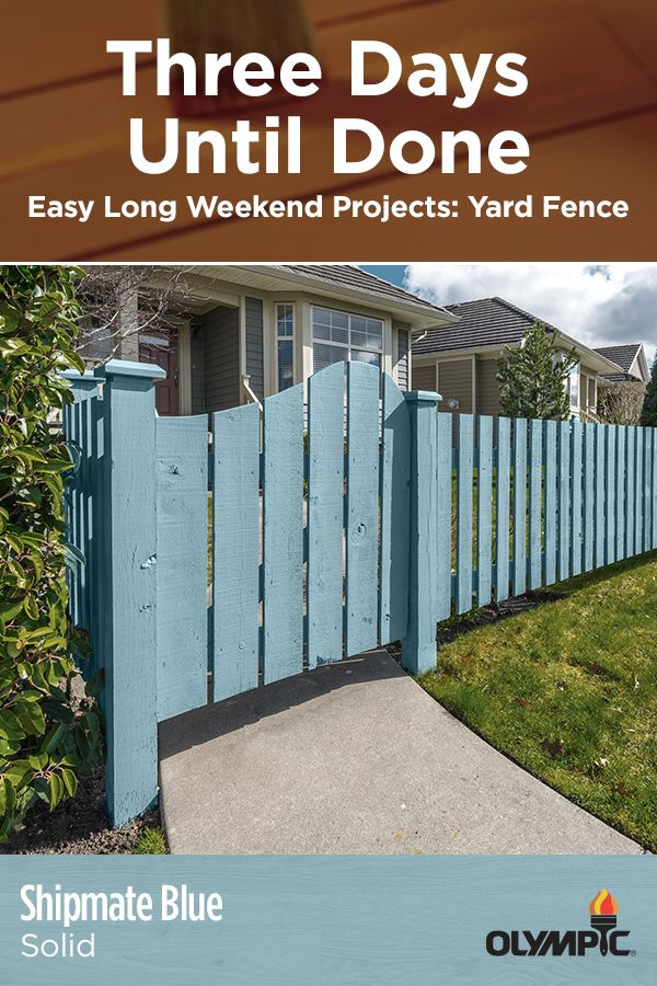 From picket to privacy and pretty much everything in between, it's not hard to turn your fence into the highlight of the yard. In fact, all you need is a long weekend. Fences don't present the same challenges as a deck when it comes to painting and staining. So don't be surprised if you've got a little weekend left over by the time you finish.