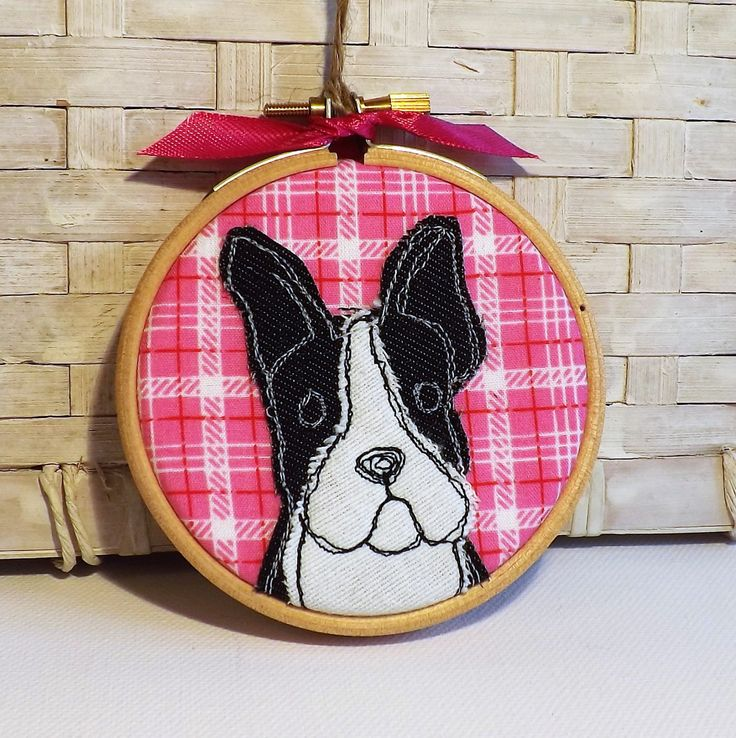 Boston terrier hoop, hoop art, applique, embroidery, dog, gift by TheDogandtheMoon on Etsy