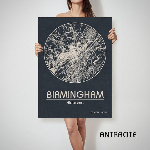 BIRMINGHAM Alabama City Map Birmingham Alabama Art by ArchTravel