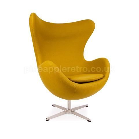 Retro Space Age Egg Chair - Iconic Arne Jacobsen Style, Mustard Yellow