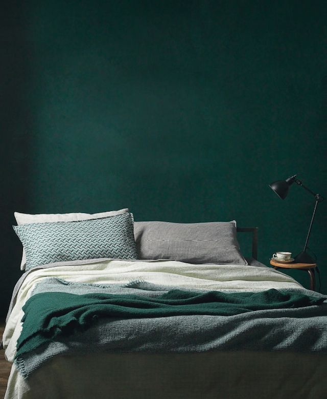 dark green wall and mixed linen. beautiful bedroom . Today I'm loving - French By Design