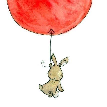 More red Balloons: A fantastic red balloon carries this cute little bunny away in this print by Trafalgar's Square
