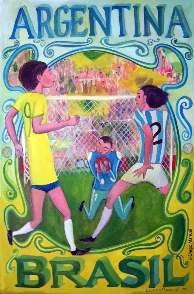 """Argentina - Brasil 2"", clasicos de futbol mundial, acrylic on canvas, 70 x 45 cm. 2009"