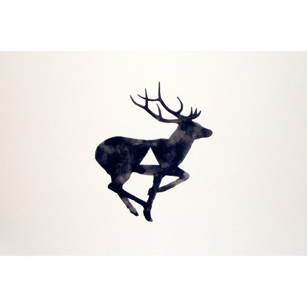 Watercolor - Original - Deer - Antler - Geometric - Black - White - Gray (24 AUD) found on Polyvore