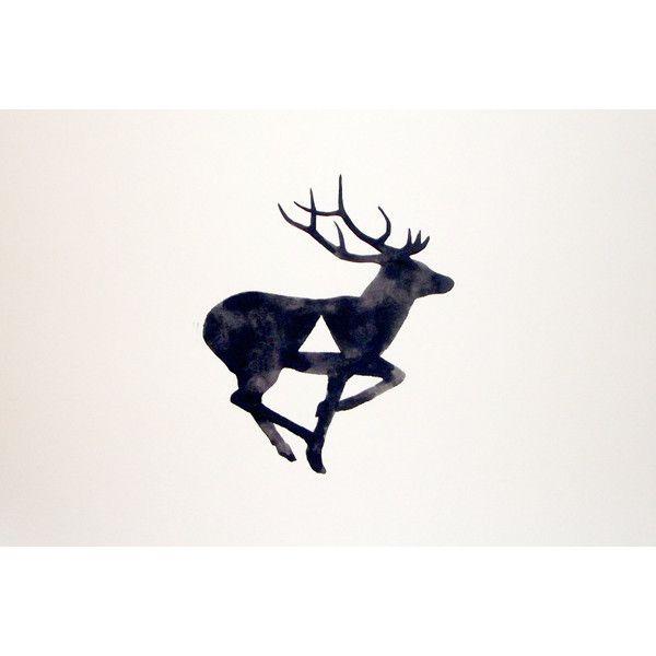 Watercolor - Original - Deer - Antler - Geometric - Black - White - Gray (24 AUD) found on Polyvore