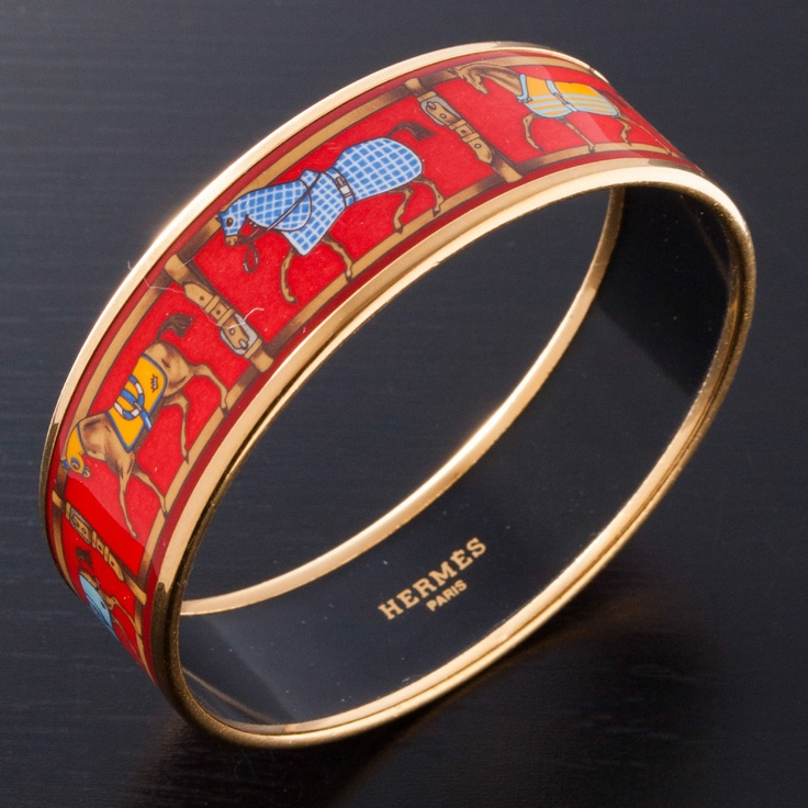 Hermes Enamel Bangle In Red