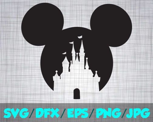 Disney Castle  Iron On Decal Cutting File / Clipart in Svg, Eps, Dxf, Png, and Jpeg for Cricut and Silhouette Mickey Mouse Disneyland World