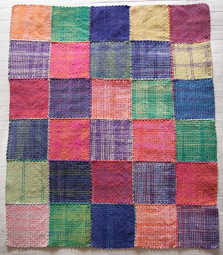 """Made with Gedifra Fiorista colour-shaded yarn in about 3 different colourways on a 6""""x6"""" Weavette hand-held loom"""