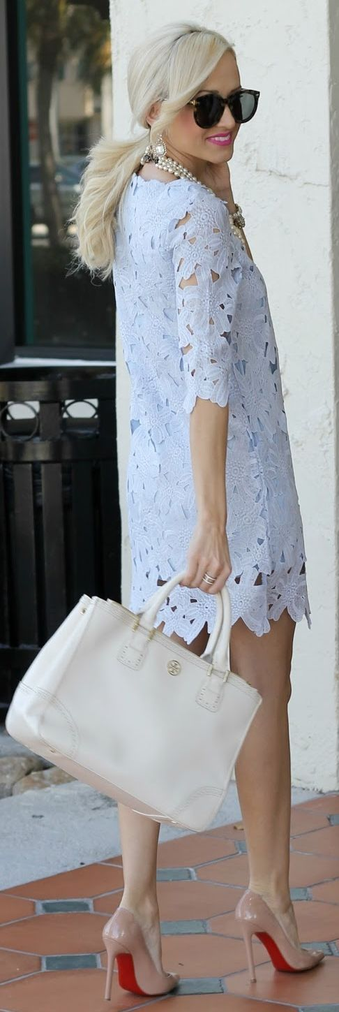 Got a lacy white tunic with a soft bell sleeve very similar to this except I'd never wear it as a mini - going to wear it over bw skinnie pants:  Chicwish Baby Blue Cut Out Floral Crochet Dress by A spoonful of Style