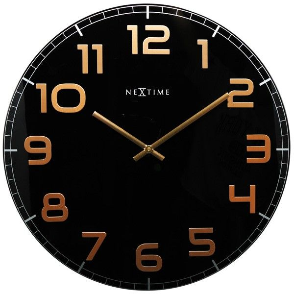 Genial Nextime Classy Large Wall Clock   Black U0026 Copper