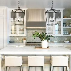 Farmhouse Kitchen with Darlana Lantern. Farmhouse Kitchen with Visual Comfort CHC2165AI E.F. Chapman Darlana 4 Light 17 inch Aged Iron with Wax Foyer Lantern Ceiling Light #FarmhouseKitchen #Lighting #Darlana #Lantern Caitlin Creer Interiors