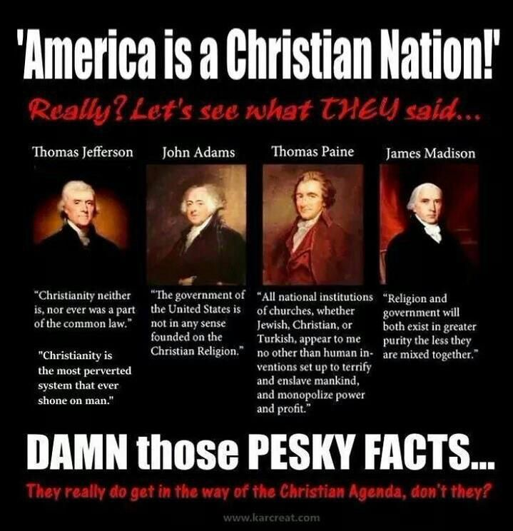 """And a bunch of Christians thought separating Church and State was a good idea. """"Liberty & Justice for ALL."""""""