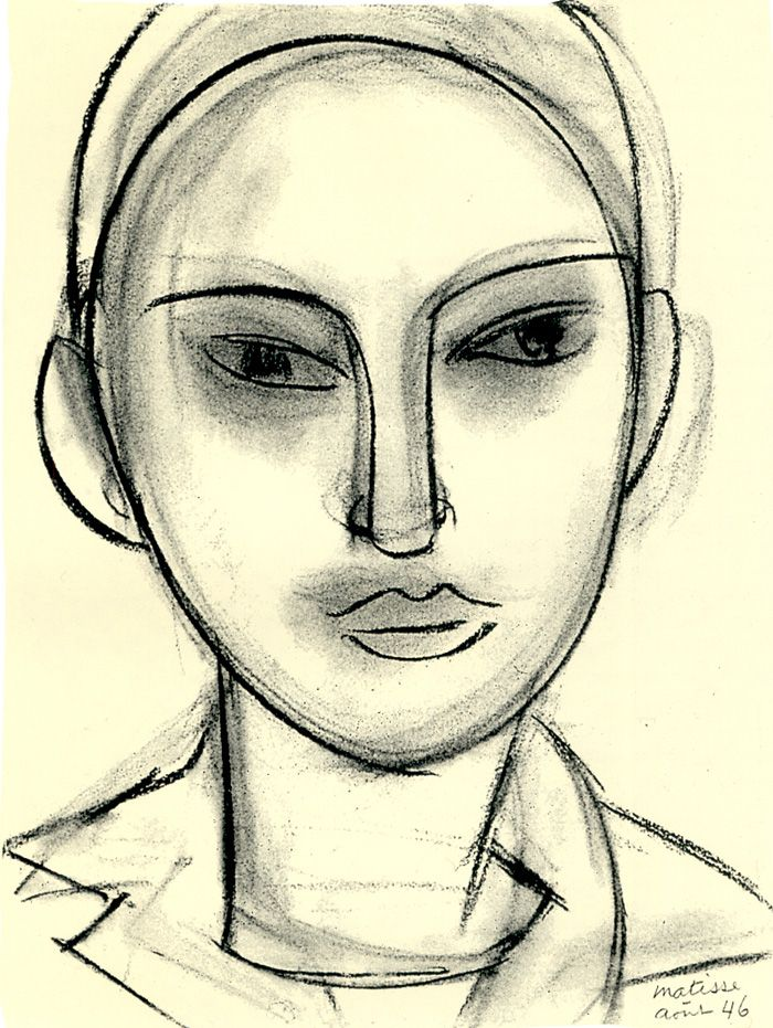 Henri Matisse FACE (CLAUDE) charcoal on paper  40.5 x 30 cm. Private Collection  1946