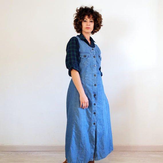 Vintage 90s Button Down Denim Dress Vintage Grunge Jumper Denim Dress Vintage Denim Pinafore Dress Vintage Hipster Long Denim Dress Dress Honey In 2020 Long Denim Dress Button Down Denim