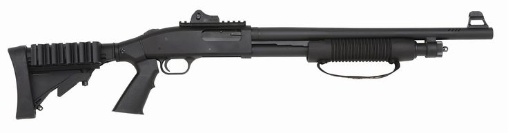 "Mossberg 500 SPX - 12 gauge, 18.5"" Barrel w/Matte Finish, Adjustable Tactical Stock with Shell holder and pistol grip, Picatinny Rail, LPA Ghost Ring rear sight, LPA M16 Type front sight"