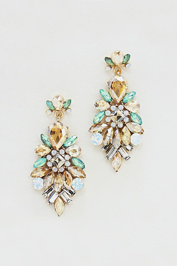 Charlotte Earrings in Mint and Champagne Crystal