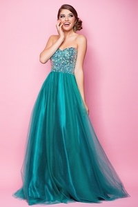 Stunning green sequin Ball Gown Prom Evening Dress By Blush