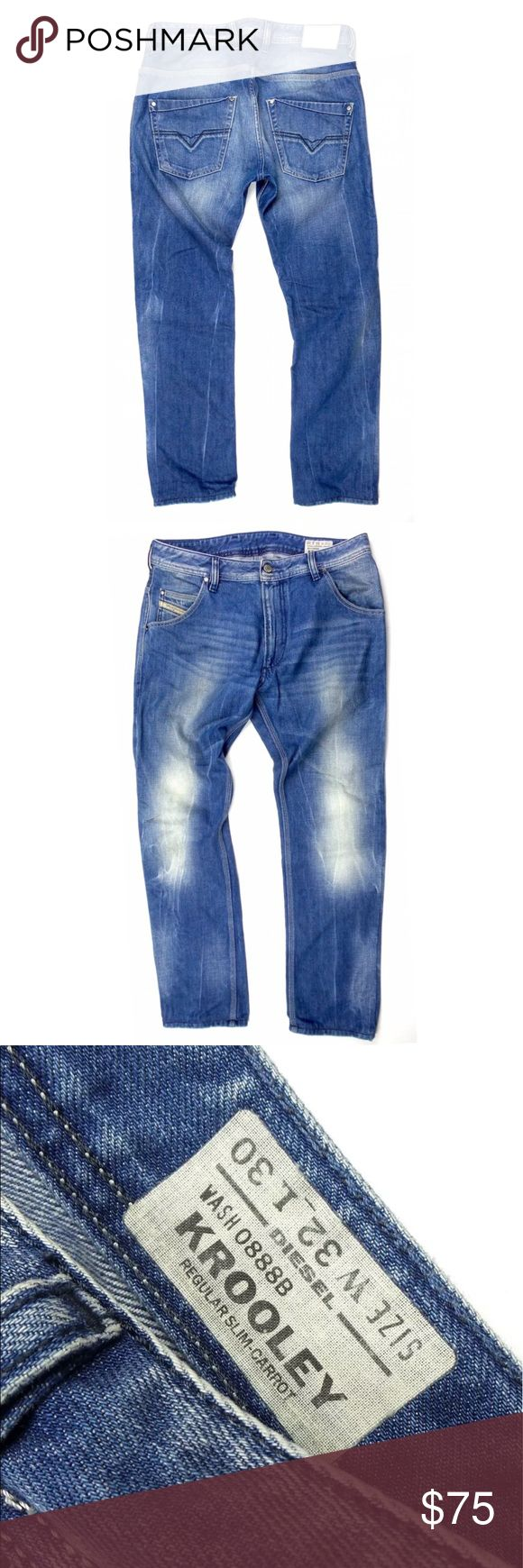 Diesel Denim Regular Slim Carrot Jeans Wash 0888B Men's Diesel Denim Regular Slim Carrot Jeans Wash 0888B Size 32  CONDITION:  Excellent. (See photos)  SIZE AND MEASUREMENTS: (lying flat):  Marked Size: 32 Outseam is 39.5 in.  Inseam is 29.5 in.  Waist (Across Edge to Edge) is 16.5 in.   Items are sold per tagged size and measurements are listed as a guide only  B05 Diesel Jeans Slim