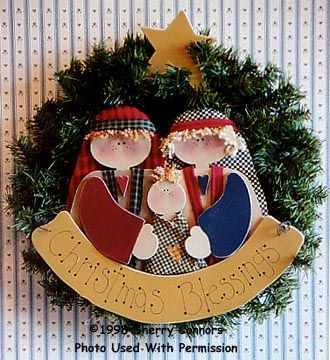 000414 (3) Christmas Blessings-nativity, wreath, wood kits, wood crafts, wood, unfinished wood, tole painting, decorative painting