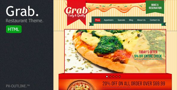 Grab Restaurant Theme - HTML Template   http://themeforest.net/item/grab-restaurant-theme-html-template/2493451?ref=damiamio        Grab Restaurant – HTML5 & CSS3 Features  Grab, a restaurant theme HTML template specially coded for pizza and pasta restaurants, comes up with 10 HTML Pages. Well Documented, Can be easily customized as per your requirements. HTML Structure  This theme is a fixed layout with 3 main sections named header, section (content area) and footer. The general template…