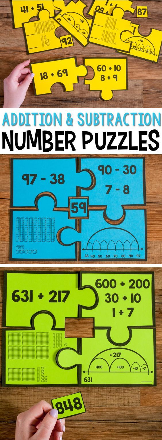 Place Value Number Puzzles (grades 2-3) are a set of four-piece puzzles that develop students' fluency with place value. Each puzzle has the number form, word form, base-10 blocks and expanded notation.