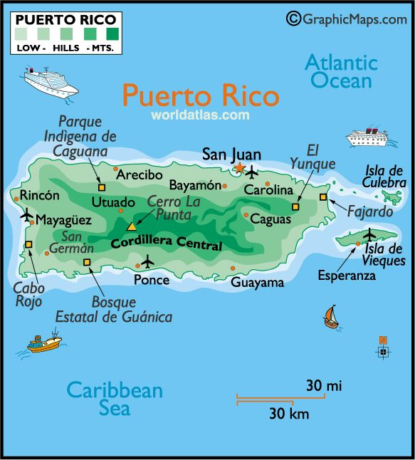 Puerto Rico Map | Puerto Rico Hotels, Resorts, Vacation Packages, Cruises & Restaurants