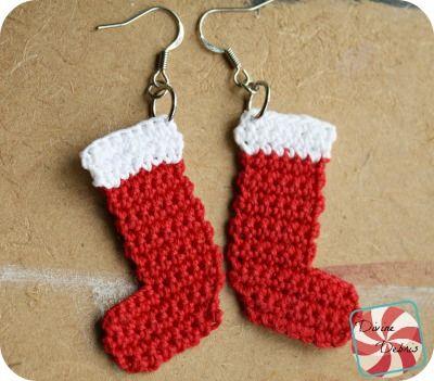 Crochet Stocking Earrings free pattern by DivineDebris.com