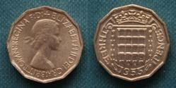 Threepence piece, 'thruppeny bit' or 'thruppence'. I could put one of these in the gap of my front teeth lol