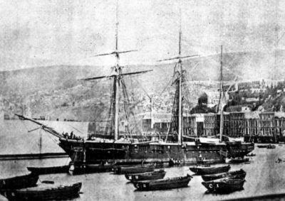 Corbeta Pilcomayo capturada a la Armada peruana. Estuvo en servicio en la Armada chilena hasta el año 1909