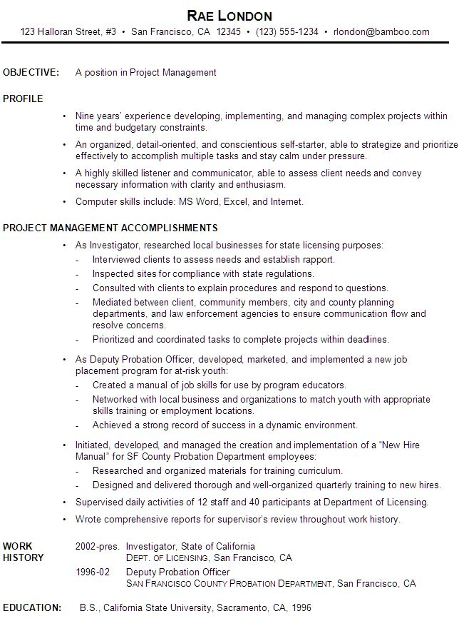 functional resume example project manager. Resume Example. Resume CV Cover Letter