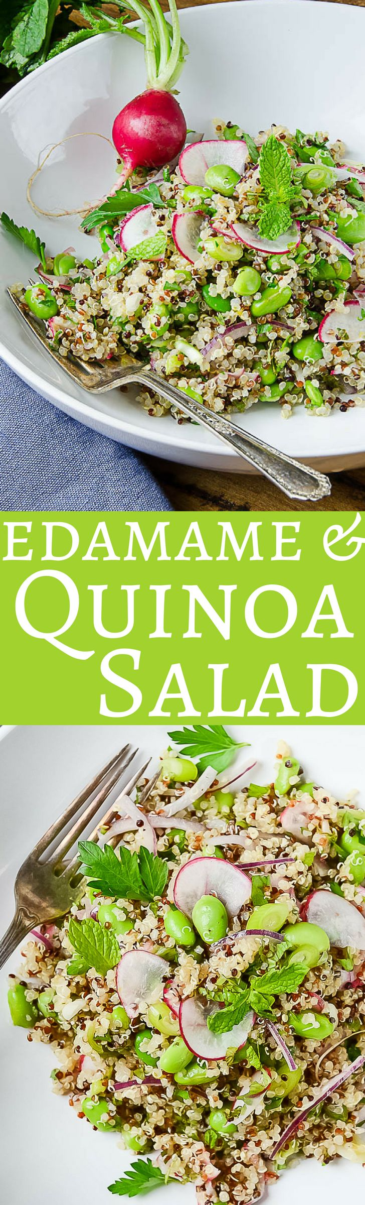 Here's an easy, healthy quinoa salad recipe!  With edamame, radishes and fresh herbs, it's a great Spring or Summer side dish or vegan main!