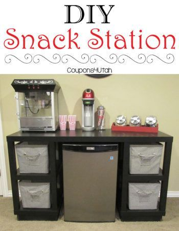 Diy Snack Station Inexpensive Desk Transformed Into A Fun Snack Station For Your Family Room