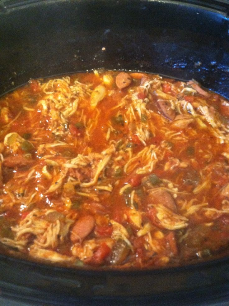 Jambalaya in the Crock Pot - I sort of want this right now.  I'd have to add the shrimp, for sure.