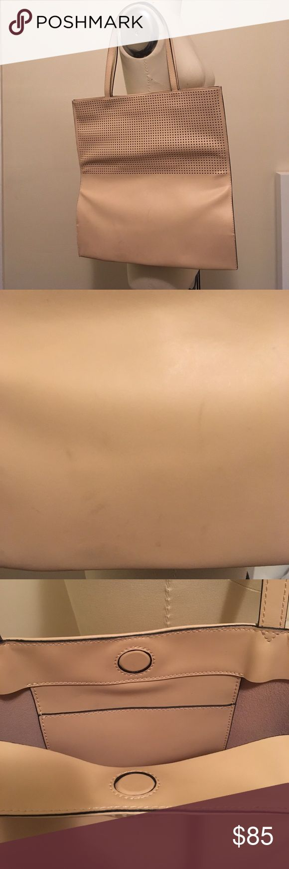& Other Stories Medium Leather Tote Used & Other Stories Medium Leather Tote in nude color with perforated leather details. Some marks on leather as shown in picture. Magnetic closure, one inside pocket. Sides aren't shaped but bottom expands. & Other Stories Bags Totes