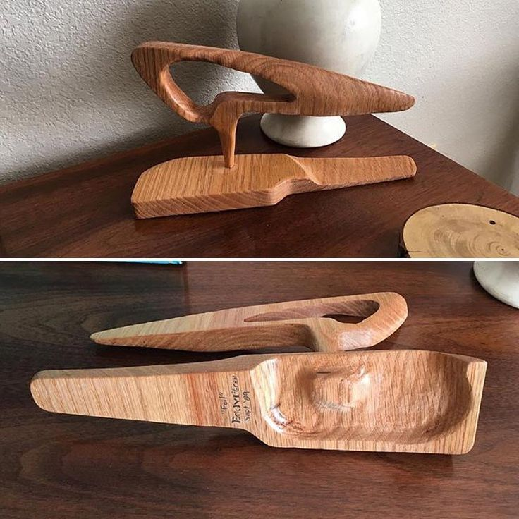 A hand Crafted Mid-Century Modern/Googie/Retro Modern inspired sculpture made from Red Oak by Eric McGrew