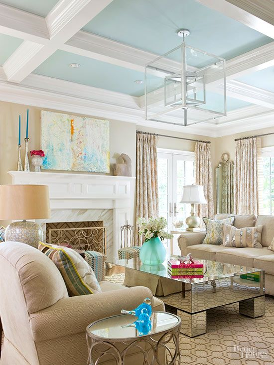 Dress up blah ceilings with these DIY painted ceiling ideas that will instantly add style to any room, including living rooms, hallways, dining rooms, bedrooms, bathrooms and more. For extra visual interest, try adding two colors that complement your decorating to the ceiling.