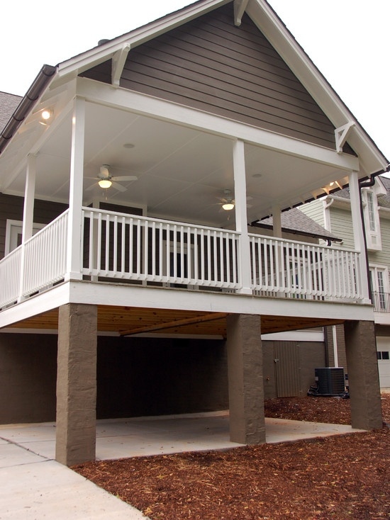 15 best images about deck over carport see also houzz on for Garage under deck