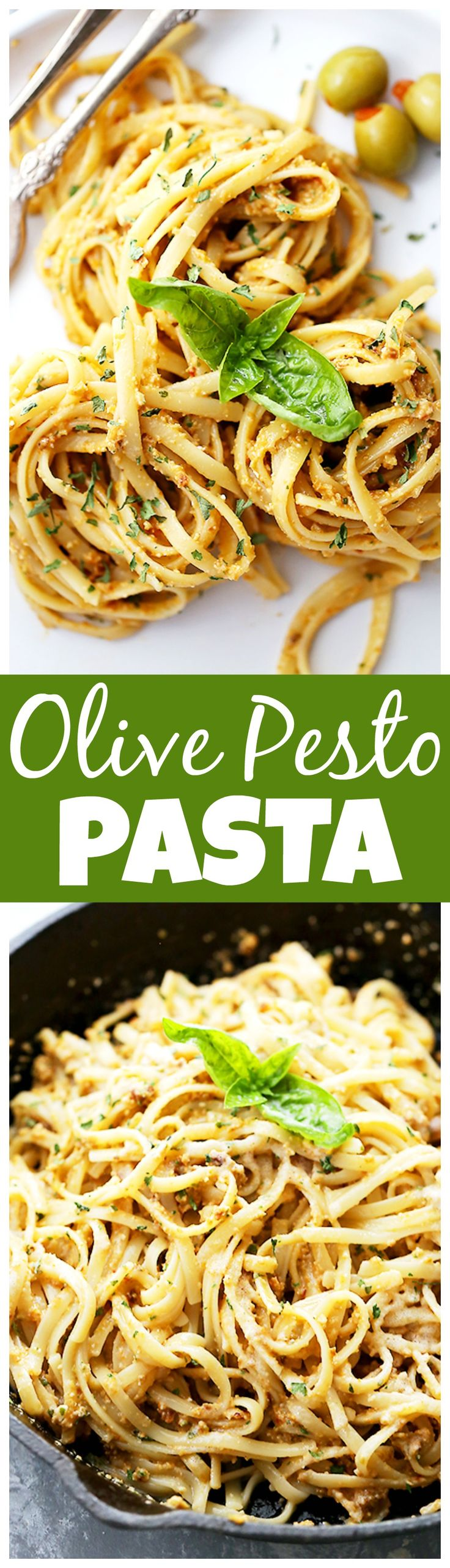 Olive Pesto Pasta - Quick and easy pasta dinner tossed in a homemade olive pesto made with pimiento-stuffed olives, fresh basil, and sun-dried tomatoes