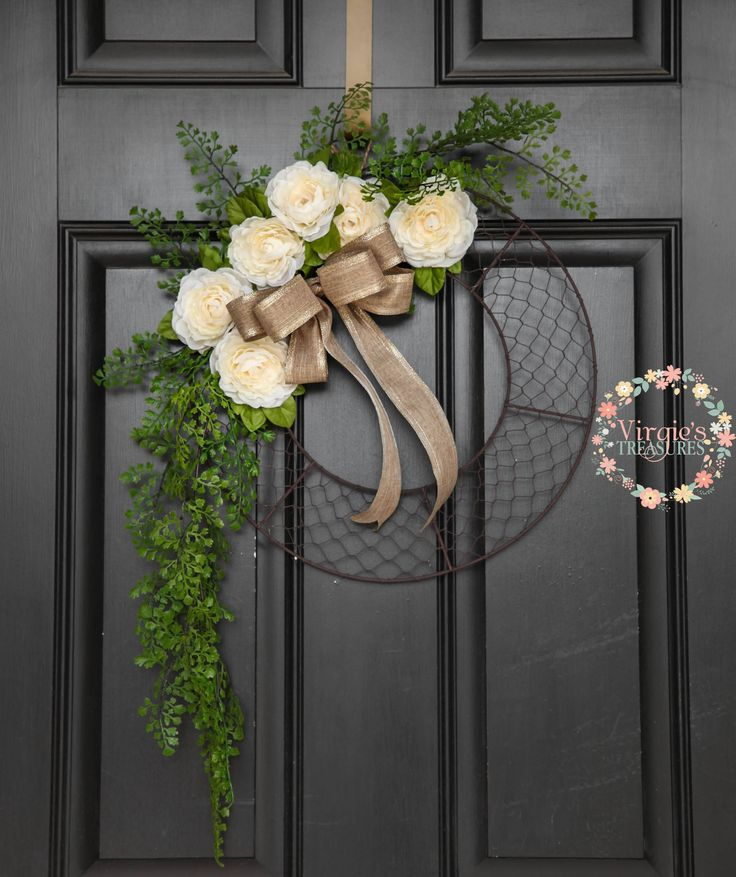 Chicken Wire Wreath, Faux Floral with Greenery Chicken Wire Wreath, Rustic Hoop Wreath, Farmhouse Wreath, Wall Gallery Decor by VirgiesTreasures on Etsy