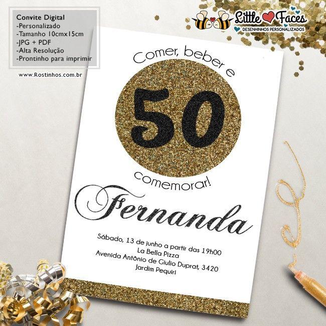 Convite Aniversário 50 anos para imprimir                                                                                                                                                                                 Mais