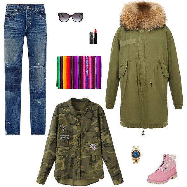 Amo Tomboy patchwork detail jeans, $340, modaoperandi.com; Bvlgari cat-eye sunglasses, $420, selfridges.com; Mr & Mrs Italy slim-fit long army parka with natural coyote, $4,845, modaoperandi.com; Timberland premium 6-inch boot, $130, infinityshoes.com; Rolex 1985 Day-Date with Vignette Dial 18038, $24,750, modaoperandi.com; Choies camouflage color shift shirt, $24, choies.com; Local + Lejos Rosado serape blanket, $72, localandlejos.com; Nars lipstick, $27, sephora.com